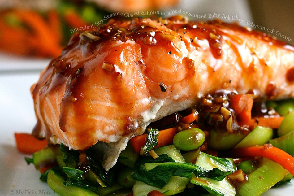 , Soy-Sesame Glazed Salmon on a Bed of Sauteed Baby Bok Choy, Edamame ...