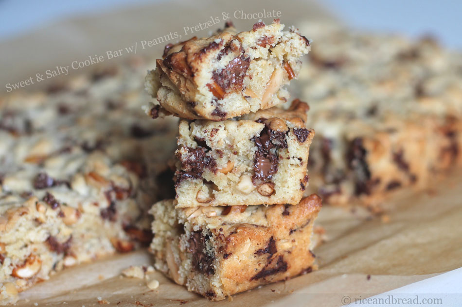 Sweet and Salty Cookie Bar with Peanuts, Pretzels and Chocolate