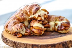 Sweet and Savory Apricot Chicken, Sharp Cheddar and Fried Onions in a Flaky Croissant