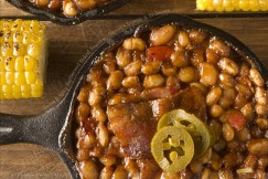 Sweet and Spicy Barbecued Baked Beans with Bacon, Chipotle and Molasses