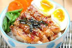 Sweet and Spicy Teriyaki Chicken with Soft Boiled Eggs