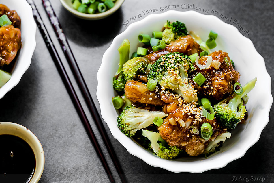 Sweet and Tangy Sesame Chicken with Steamed Broccoli