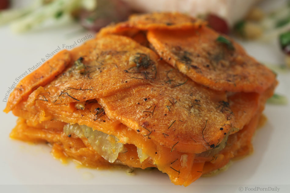 Decadent Sweet Potato and Shaved Fennel Gratin