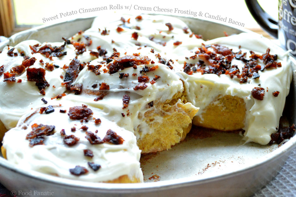 Sweet Potato Cinnamon Rolls with Cream Cheese Frosting and Candied Bacon