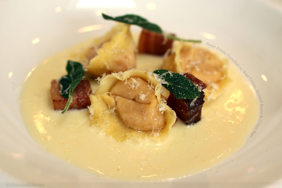 Sweet Potato Tortellini with Sage Cream, Braised Bacon and Crispy Sage
