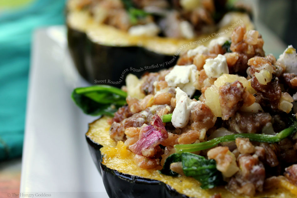 Roasted Acorn Squash Stuffed with Fennel Sausage, Farro, Goat Cheese ...