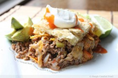 Taco Pie Loaded with Ground Beef, Cheese, Onions and Jalapenos in Flaky Puff Pastry Crust