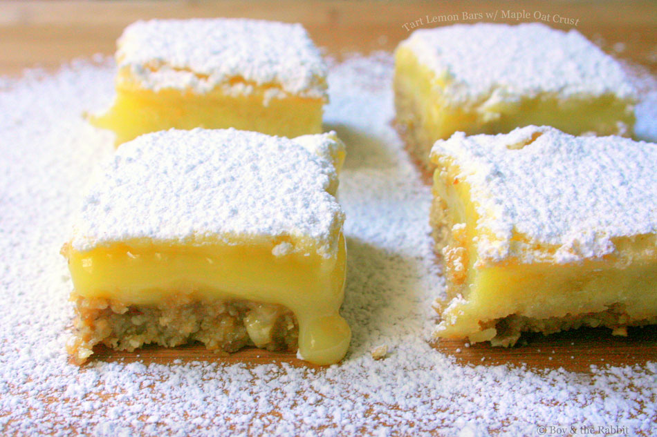 Tart Lemon Bars with Maple Oat Crust