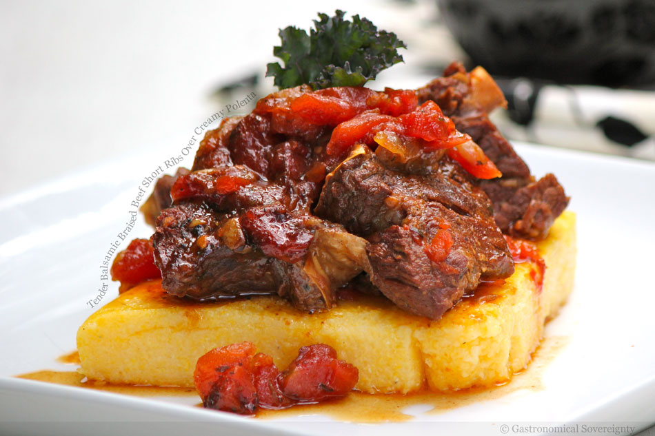 Tender Balsamic Braised Beef Short Ribs Over Creamy Polenta