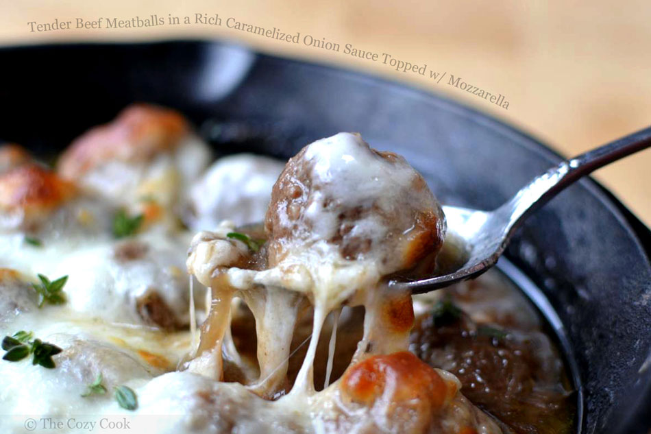 Tender Beef Meatballs in a Rich Caramelized Onion Sauce Topped with Mozzarella