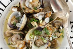 Tender Clams in White Wine with Cilantro, Spring Onions and Chipotle Chile Powder