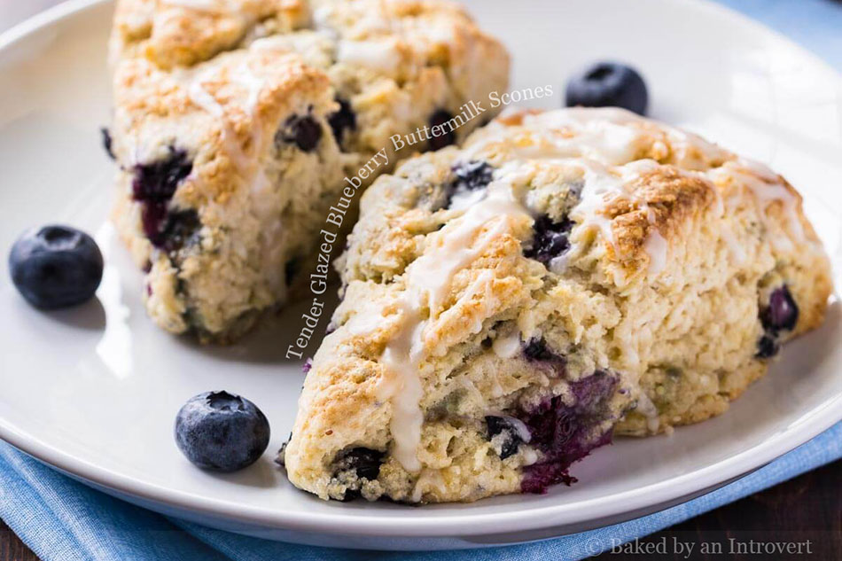 Tender Glazed Blueberry Buttermilk Scones