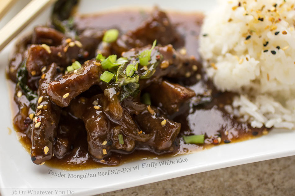 Tender Mongolian Beef Stir-Fry with Fluffy White Rice