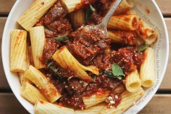 Tender Pot Roast Braised in a Tomato Herb Sauce Over Rigatoni Pasta
