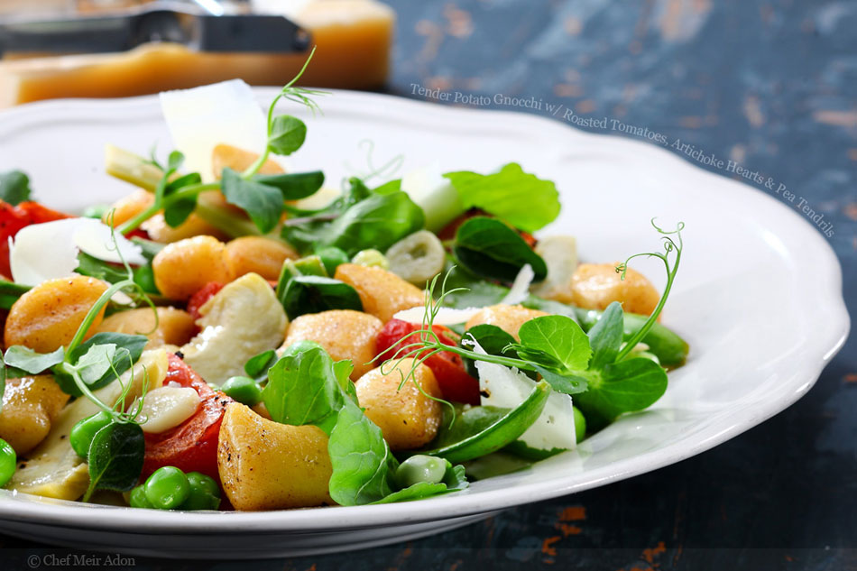 Tender Potato Gnocchi with Roasted Tomatoes, Artichoke Hearts and Pea Tendrils
