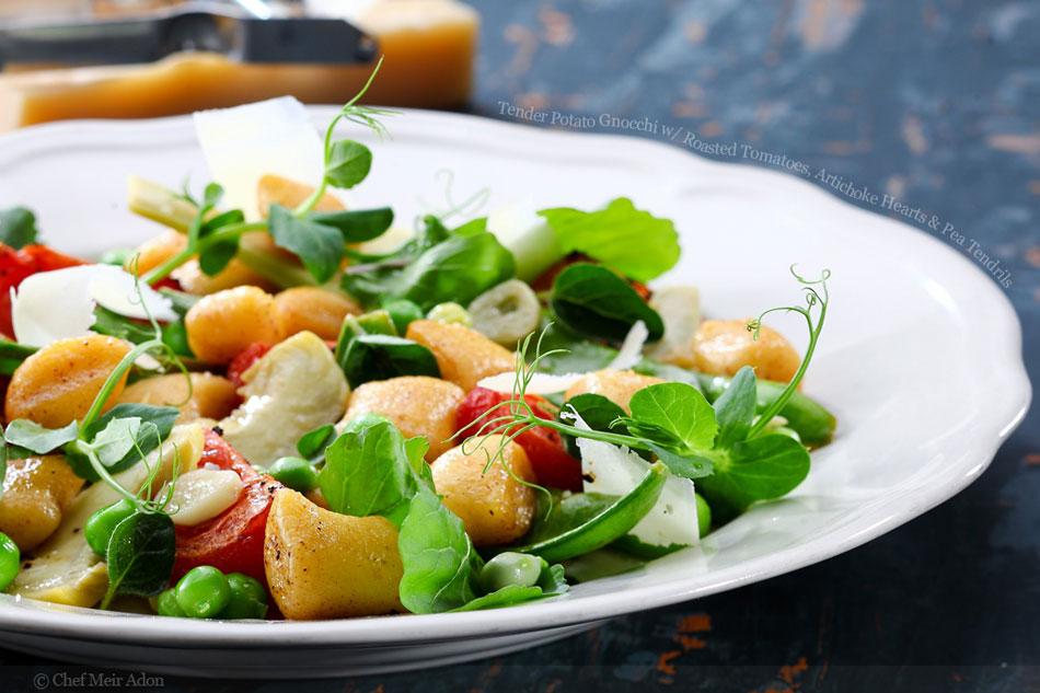 Tender Potato Gnocchi with Roasted Tomatoes, Artichoke Hearts and Pea Tendrils