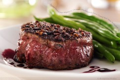 Tender Seared Filet Mignon with Chopped Mushroom and Onion Crust and Red Wine Reduction