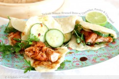 Teriyaki Salmon Steamed Buns with Cucumber, Parsley and Lime Salad