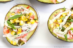 Tex-Mex King Crab and Corn Salsa Stuffed Avocados with Lime-Cilantro-Sriracha Crema