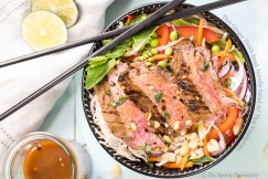 Thai Ginger Flank Steak Noodle Salad with Thai Vinaigrette