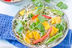 Thai Rice Noodle Salad with Ripe Mango, Mint, Cilantro, Red Pepper and Scallions