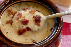 Thick and Creamy Asiago Bisque with Crumbled Bacon
