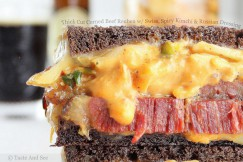 Thick Cut Corned Beef Reuben with Swiss, Spicy Kimchi and Russian Dressing
