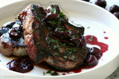 Thick-Cut Grilled Pork Chops with a Savory Sweet Cherry Wine Sauce