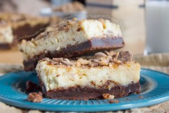 Toffee Cheesecake Bars with Chocolate Shortbread Crust Topped with Chopped Toffee