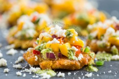 Tostones with Mango Salsa and Creamy Cilantro Chimichurri Sauce