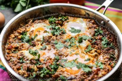 Tunisian Beef Shakshuka – Eggs Poached in Fragrant Tomato Braised Beef and Eggplant