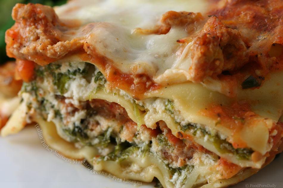 Italian Turkey Sausage, Mustard Greens & Feta Lasagna « FoodPornDaily ...