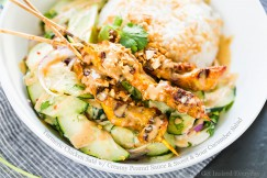 Turmeric Chicken Saté with Creamy Peanut Sauce and Sweet and Sour Cucumber Salad