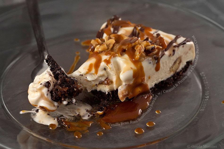 Vanilla Bean Rum Semifreddo Swirled with Caramel and Pecans on a Chocolate Pecan Crust