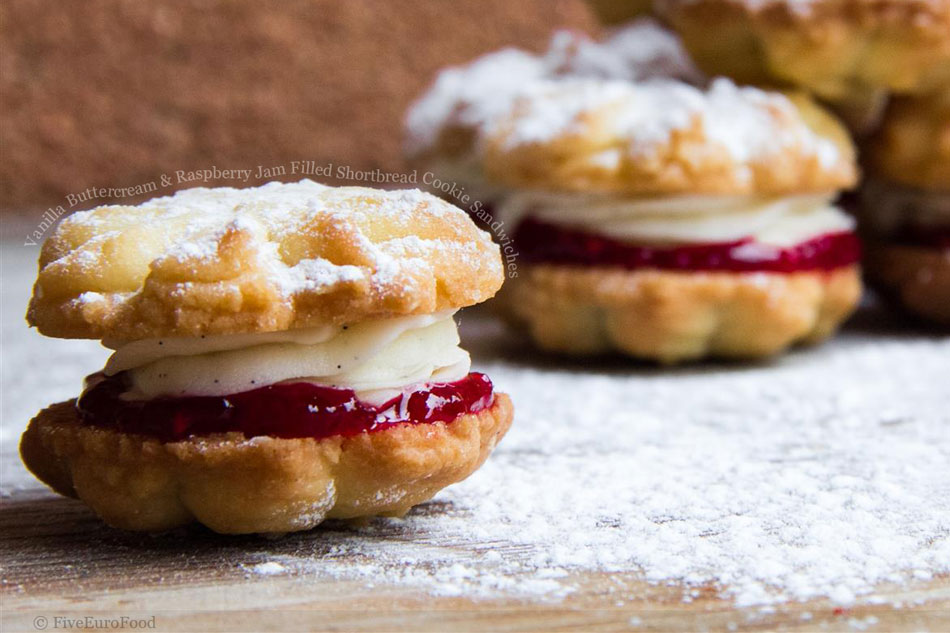 Vanilla Buttercream and Raspberry Jam Filled Shortbread Cookie Sandwiches