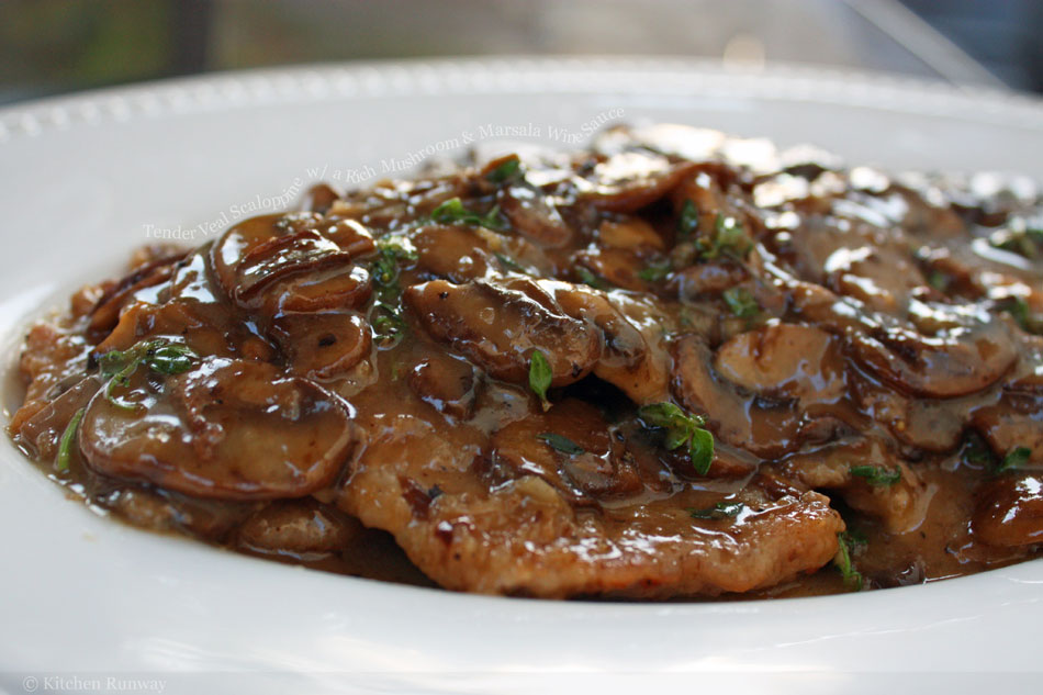Tender Veal Scaloppine with a Rich Mushroom and Marsala Wine Sauce