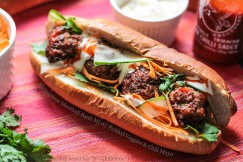 Vietnamese Meatball Banh Mi with Pickled Veggies and Chili Mayo