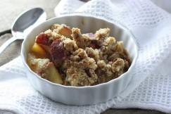 Warm Cardamom Scented Pear Crumble with Cinnamon Streusel Topping