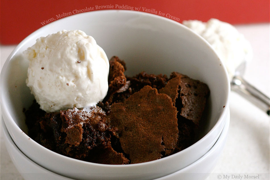 Warm, Molten Chocolate Brownie Pudding with Vanilla Ice Cream