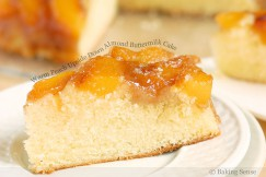 Warm Peach Upside Down Almond Buttermilk Cake