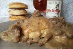 Wheat Beer Biscuits Smothered with Rich IPA Sausage Gravy