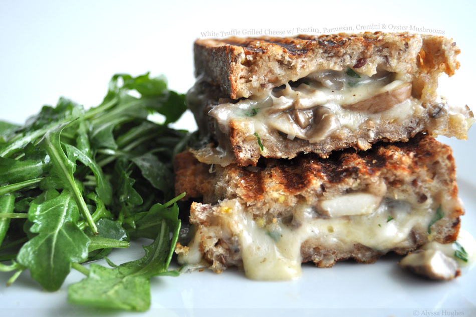 White Truffle Grilled Cheese with Fontina, Parmesan, Cremini and Oyster Mushrooms