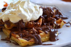 Yeasted Orange Waffles with Homemade Milk Chocolate-Hazelnut Drizzle