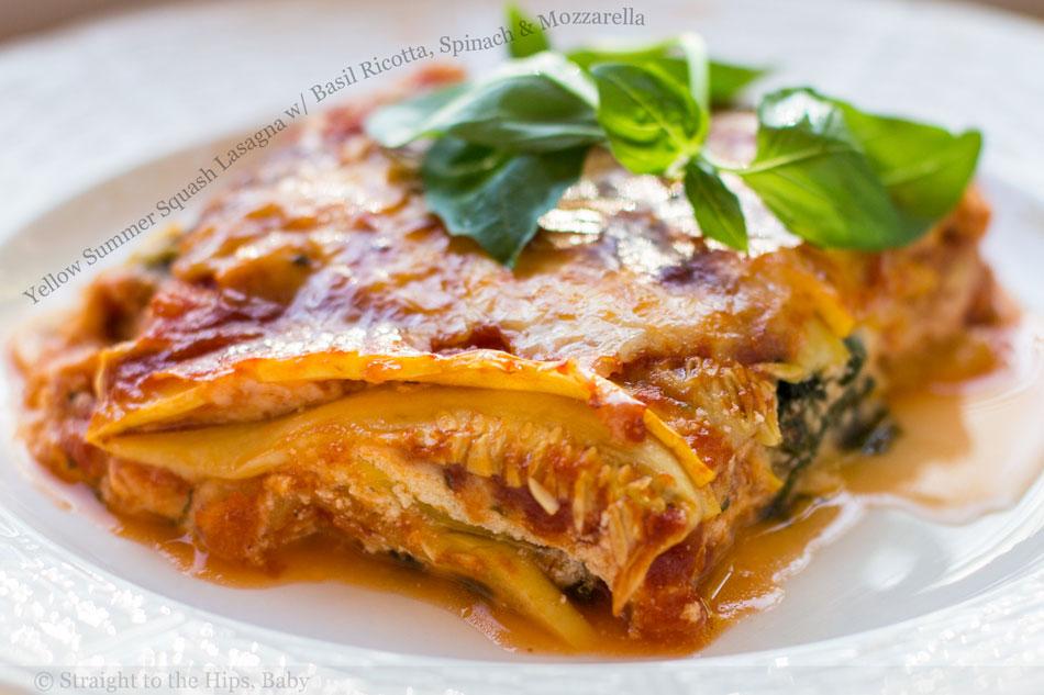 Yellow Summer Squash Lasagna with Basil Ricotta, Spinach and Mozzarella