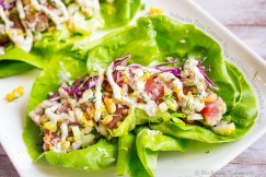Yellowfin Tuna Lettuce Wraps with Creamy Horseradish Aioli