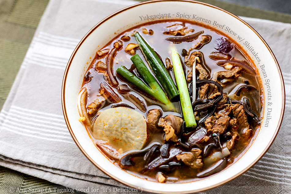 Yukgaejang – Spicy Korean Beef Stew with Shiitakes, Bean Sprouts and Daikon