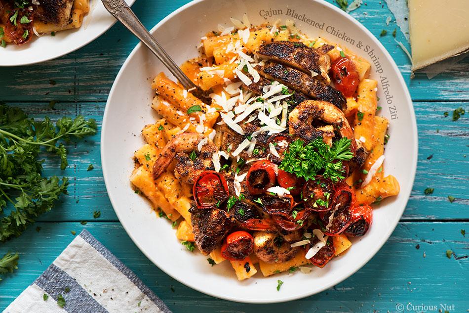 Cajun Blackened Chicken and Shrimp Alfredo Ziti