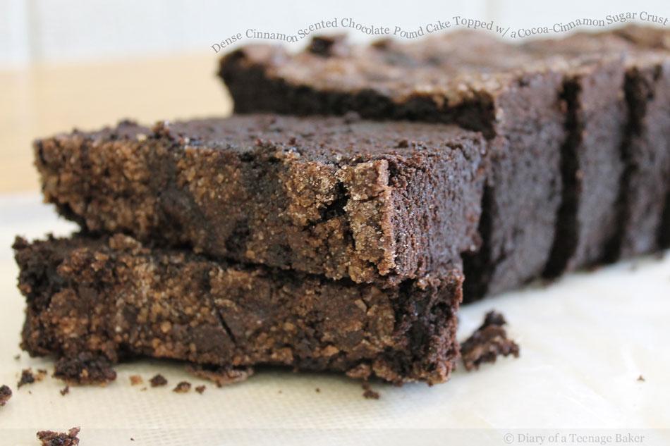 Dense Cinnamon Scented Chocolate Pound Cake Topped with a Cocoa-Cinnamon Sugar Crust