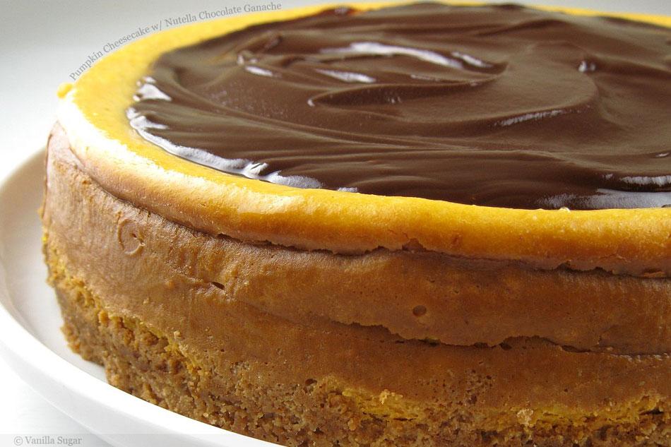 Pumpkin Cheesecake with Nutella Chocolate Ganache
