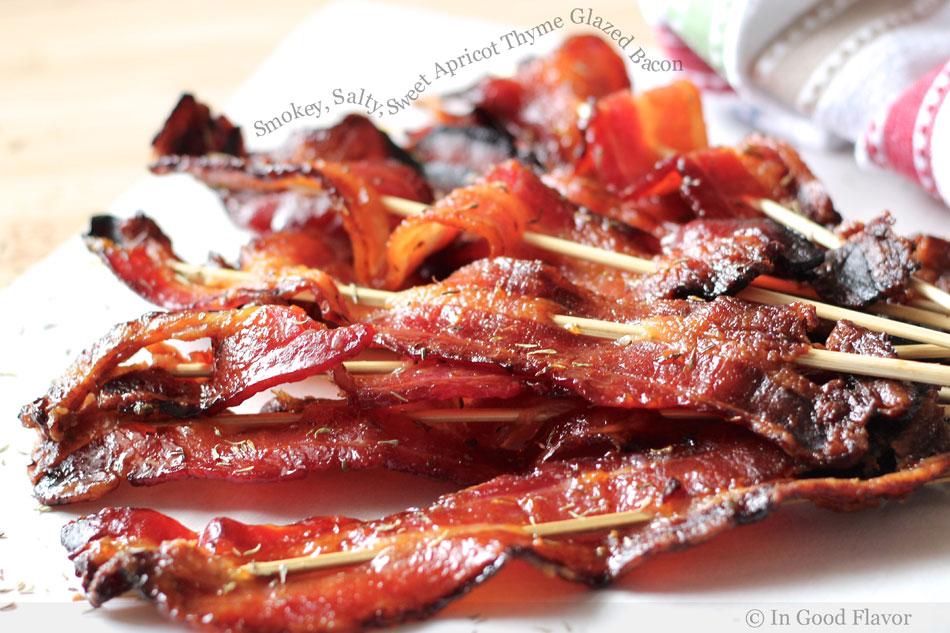 Smokey, Salty, Sweet Apricot Thyme Glazed Bacon